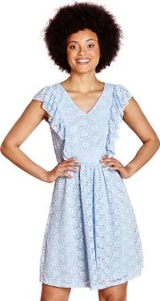 Pale Blue Lace azra Dress With Ruffle Sleeves