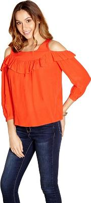 Red Ruffle Front Cold Shoulder Top