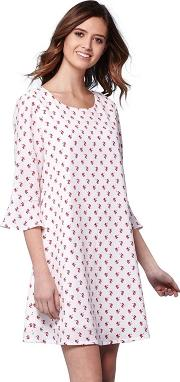 White Floral Flared Sleeves Shift Dress