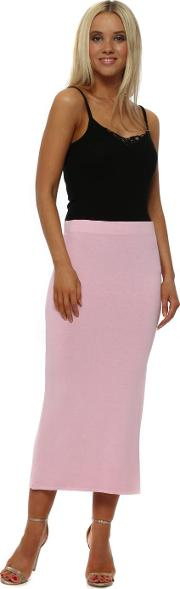 Blush Jersey Column Midi Skirt