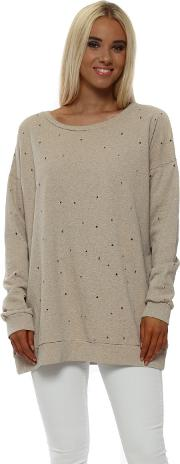 Dee Distressed Hole Knit Sweater In Peach Ice
