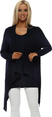 Fable Navy Waterfall Cardigan