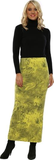 Faith Golden Lime Frosted Flowers Jersey Skirt