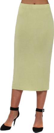 Golden Lime Jersey Column Pencil Skirt
