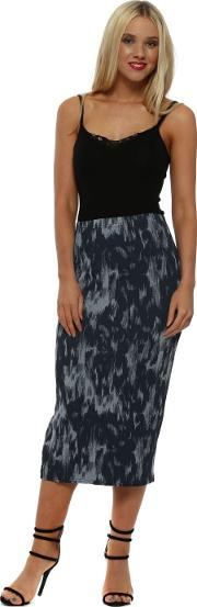 Isadora Ikat Paris Grey Midi Skirt