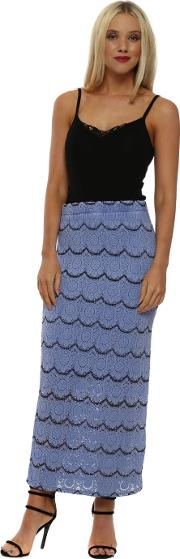 Macy Indigo Medallion Lace Pencil Skirt