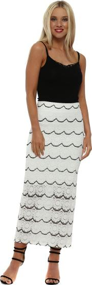 Macy Vanilla Medallion Lace Pencil Skirt