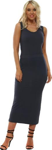 Milli Charcoal Jersey Column Pencil Skirt