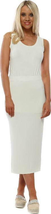 Milli Coconut Jersey Column Pencil Skirt