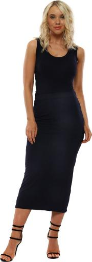 Milli Navy Jersey Column Pencil Skirt