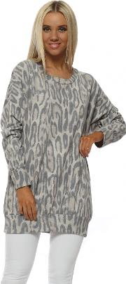 Paloma Leopard Print Long Sweater