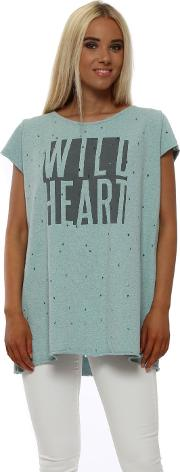 Paradise Blue Darcia Wild Heart Short Sleeve Sweater