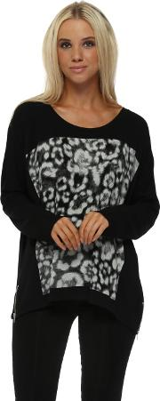 Zippy Giant Animal Print Sweater In Black