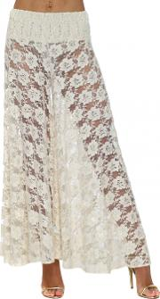 Beige Lace Pearl Embellished Palazzo Culottes