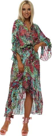 Aqua Red Exotic Animal Print Wrap Front Frill Maxi Dress