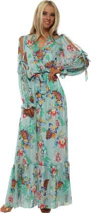 Aqua Tropical Floral Print Cross Over Maxi Dress