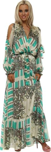 Green Paisley Print Cross Over Chiffon Maxi Dress