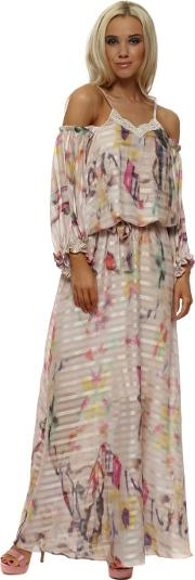 Pastel Water Colour Cold Shoulder Maxi Dress