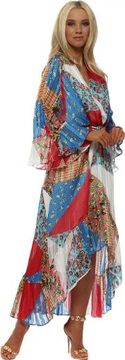 Red Blue Patchwork Wrap Front Frill Maxi Dress