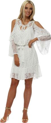 White Lace Pearl Cold Shoulder Dress
