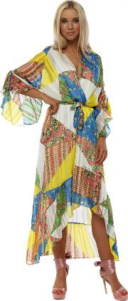 Yellow Blue Patchwork Wrap Front Frill Midi Dress