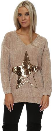 Beige Chenille Sequinned Star Jumper