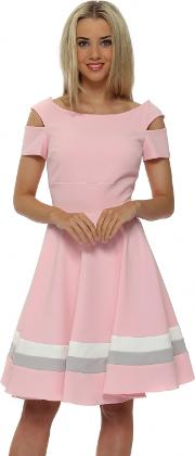 Anderson Pink Cut Out Skater Dress