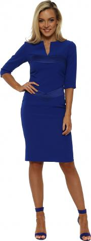 Mirabel Sapphire Blue Satin Detail Pencil Dress