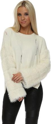 Fluffy Sleeve Distressed Cream Jumper