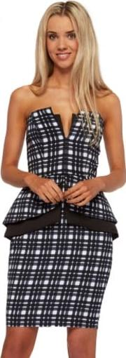 Middle Of Nowhere Navy Tartan Peplum Pencil Dress