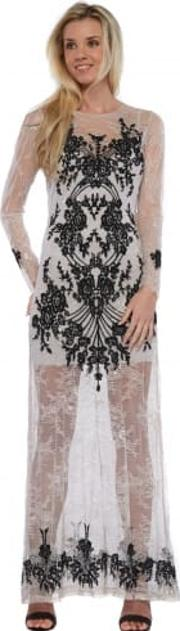 Lacey Dreams Long Sleeve Maxi Dress In Dove Grey