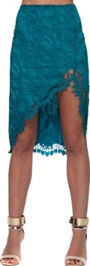 Maui Waui Teal Lace Asymmetric Skirt