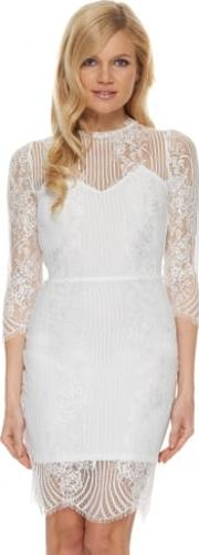 Rosette Dress In White Lace With Open Back