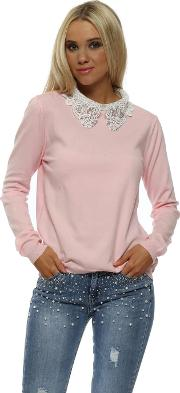 Baby Pink Diamante Embellished Lace Collar Jumper
