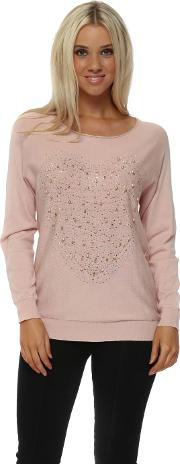 Baby Pink Pearl Studded Heart Jumper