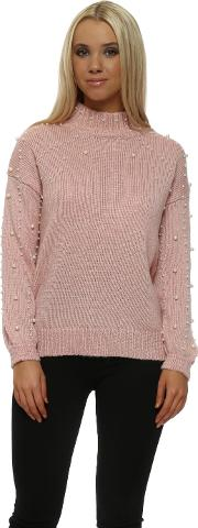 Baby Pink Speckled Pearl Polo Neck Jumper