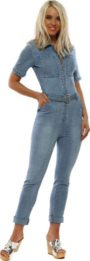 Blue Denim Short Sleeve Jumpsuit