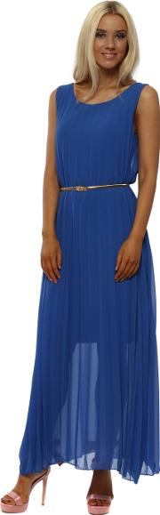 Cobalt Blue Gold Belted Pleated Maxi Dress