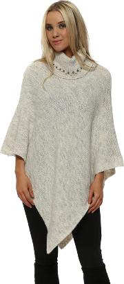 Cream Pearl Embellished Polo Neck Poncho
