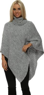 Grey Pearl Embellished Polo Neck Poncho