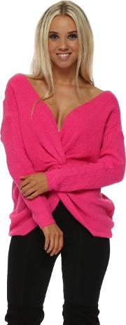 Hot Pink Multiway Wear Knotted Jumper