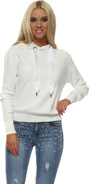 White Pearl Stud Drawstring Hooded Fine Knit Jumper