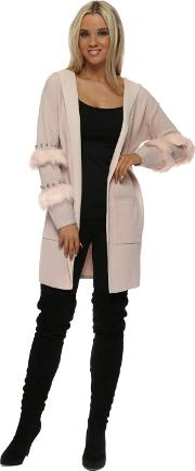 Baby Pink Diamante Faux Fur Hooded Cardigan