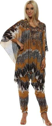 Mustard Feather Print Kaftan Lounge Suit