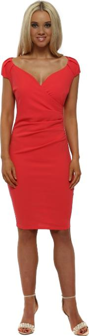 Coral V Neck Pleated Midi Dress