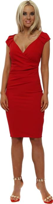Red V Neck Pleated Midi Dress