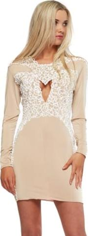 Amber Nude With White Painted Detail Mini Dress