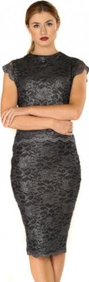 Rosie Dark Grey Lace Pencil Skirt Tailored Top Set