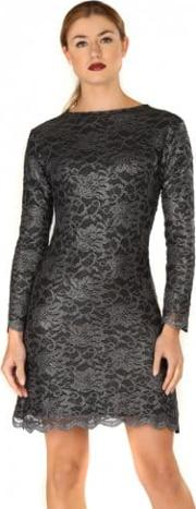 Tori Dark Grey Lace Long Sleeve Tailored Mini Dress