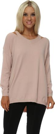 Baby Pink Cut Out Shoulder Jumper